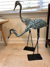 Pair metal oriental birds