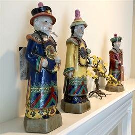 "Three Oriental Ceramic Statues Elders ""Pier 1"""