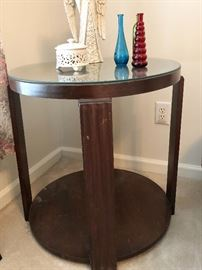 Round Glasstop Side table