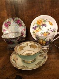 Assortment Teacups and Saucers