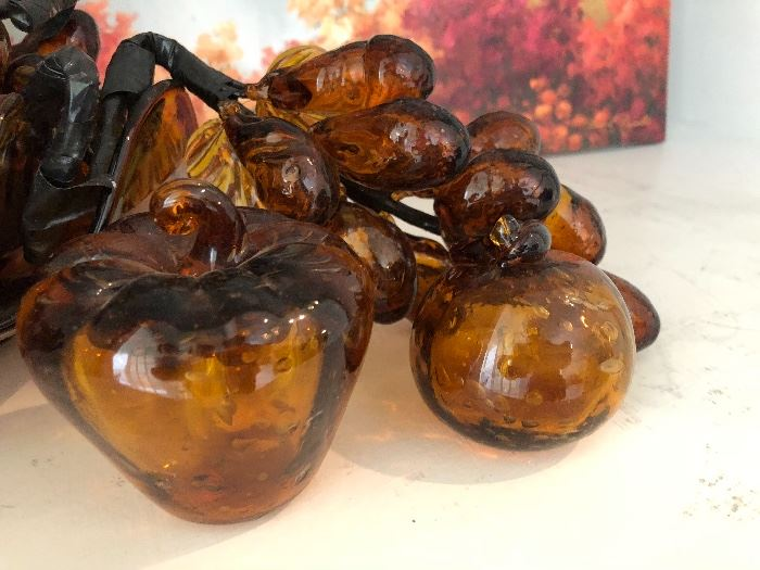 Hand Blown Cluster Amber Grapes and Bowl