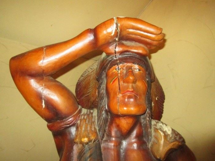 Life size cigar store Indian w/ cracks in head/arm