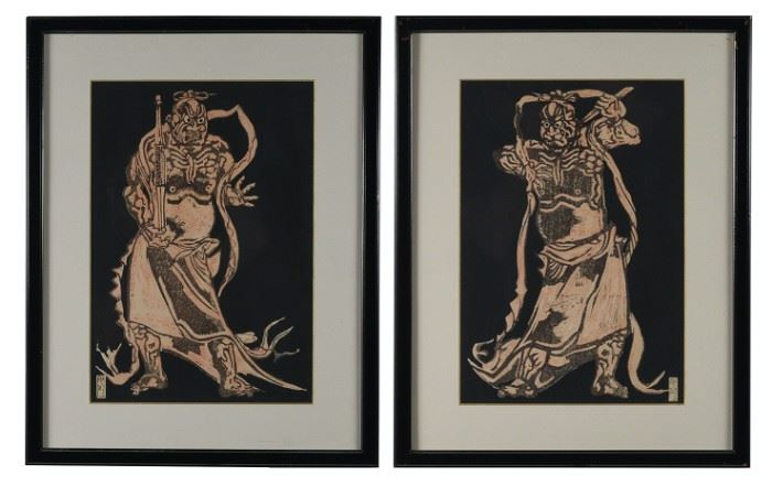 (2) Manjiro Woodblock Prints of Temple Guardians