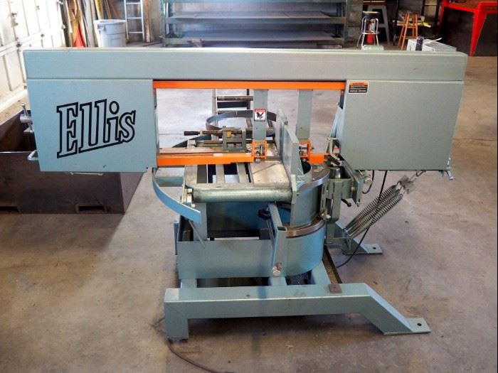 """Ellis Mitre Band Saw Model 3000, Blade Size 13'6"""" x 1"""" And Steel Draw Table"""