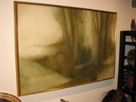 Oil on panelwood  by Heather Preston Kortebein (Man in Woods)