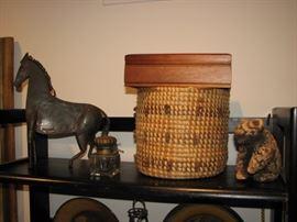 Metal horse sculpture, Native American woven basket, stone bear sculpture