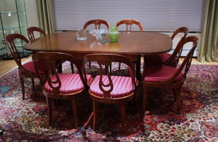 Italian, Modern Dining Room Table with Eight Chairs - Leaf Stored inside