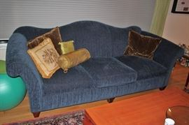 Cool Blue Sofa with Decorative Pillows