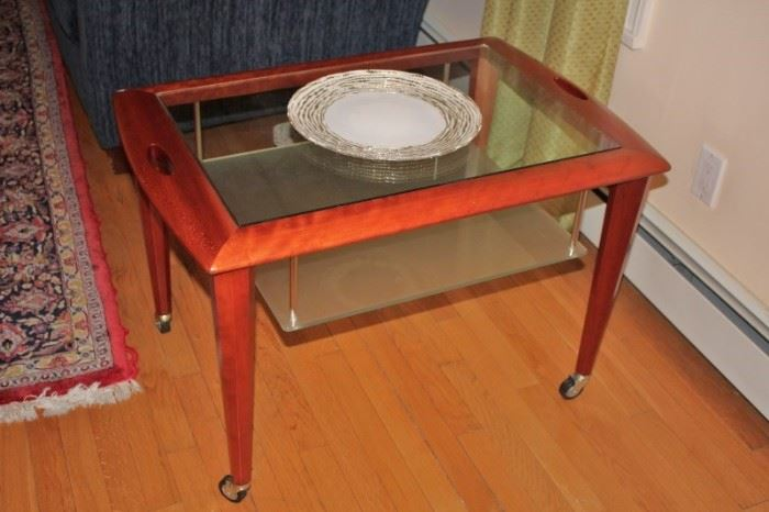 Occasional Table on Casters - Rectangular and Decorative Plate