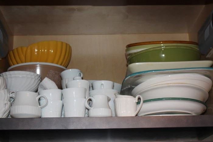 Mugs, Sugar Bowl and Creamer with Assorted Platters and Bowls