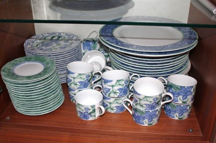 Colorful Dish Set in Blues and Greens