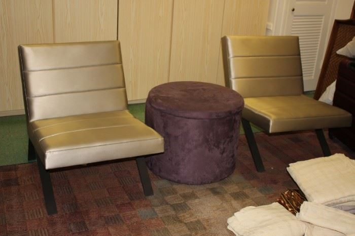 Pair of Contemporary Chairs  and Round Hassock