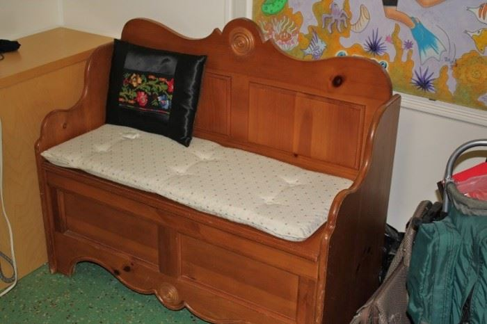 Wood Bench with Storage below and Cushion with Decorative Pillow