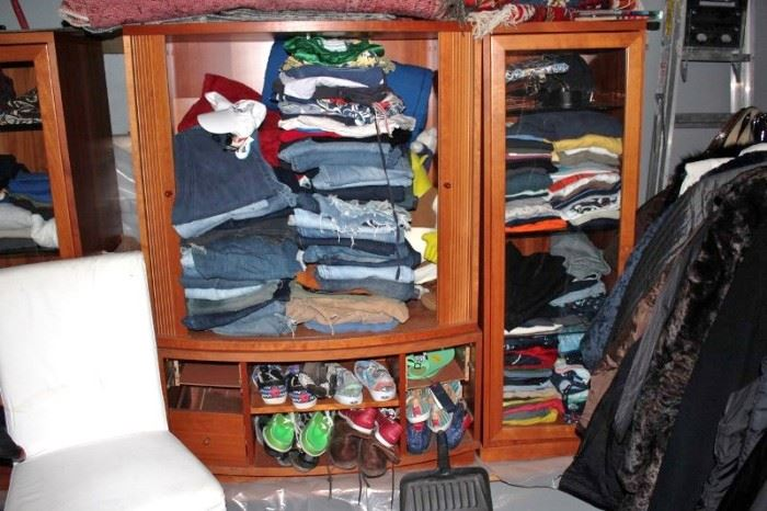 Loads of Women's and Men's Clothes, many Designer Shoes and Cabinet