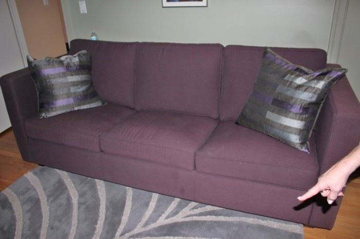 Purple Sofa with Accent Pillows and Rug