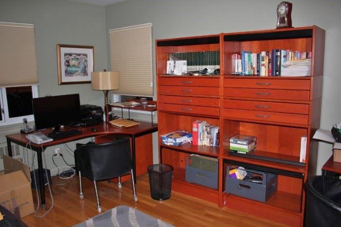 Desk, Chair and Decorative Storage Unit