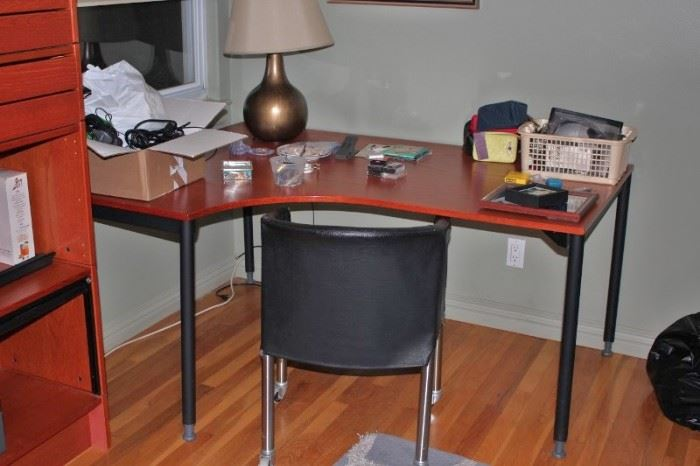 Desk & Chair, with Table Lamp