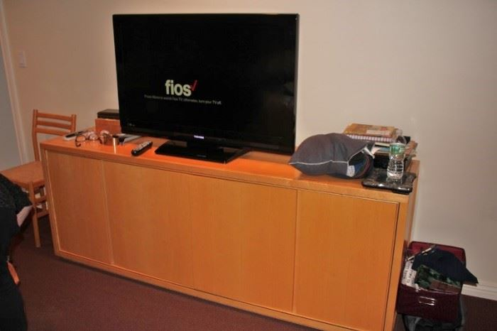 Office Credenza and Flat Screen TV