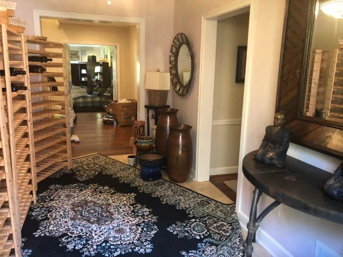 WINE RACKS,  ORIENTAL RUG, IRON & METAL HALL TABLE, LARGE MIRROR,  URNS AND DECORATIVE ACCESSORIES