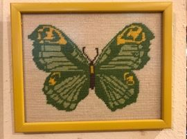 "Needlepoint Butterfly  22.50  (7.75""w  x 6""h - image size) (three available - each different colors)"