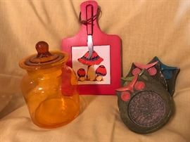 More Kool Kitchen Kitsch - Blenko Canister  22.50 - Mushroom Cheese Board   7.50 - Owl Coasters  12.00 (set of four)