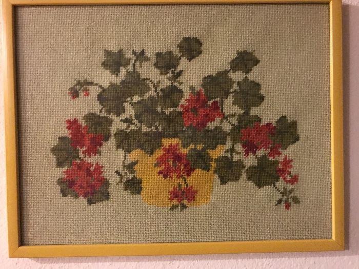 "Needlepoint Geraniums  45.00  (14""w x 10.75""h  - image size)"