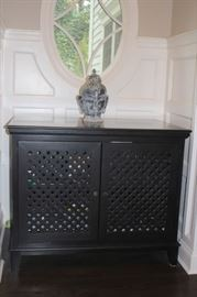Wood Cabinet and Bust