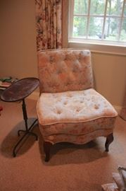 Side Table and Upholstered Chair