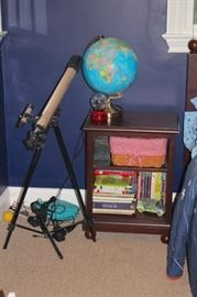 Telescope and Globe with Books