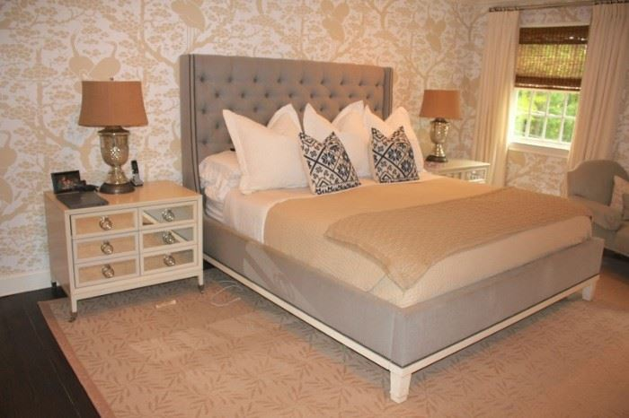 Master Bedroom Furnishings with Pair of Lamps and Tufted, Upholstered Headboard