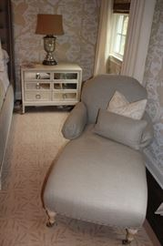 Fainting Couch and Night Stand with Lamp