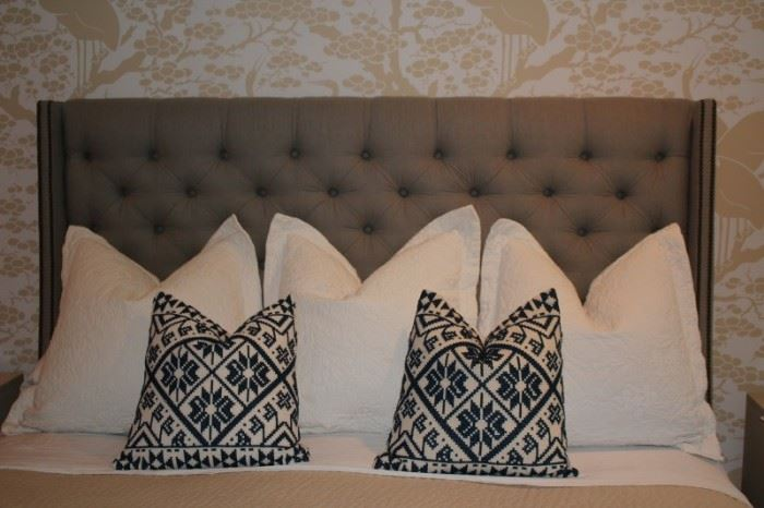 Tufted, Upholstered Headboard with Pillows