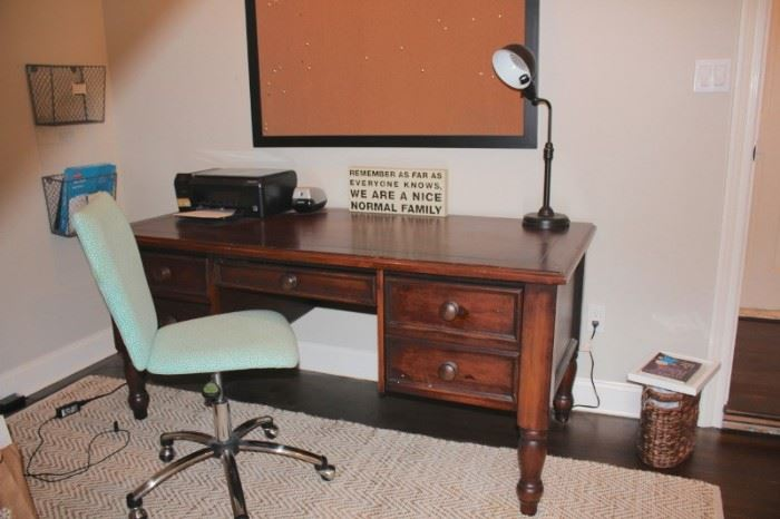 Desk and Chair with Desk Lamp