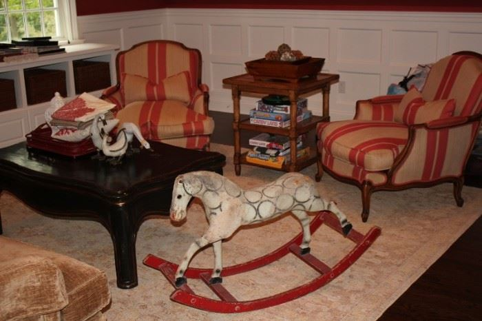 Pair of Occasional Chairs with Antique Rocking Horse, Occasional Table and Coffee Table