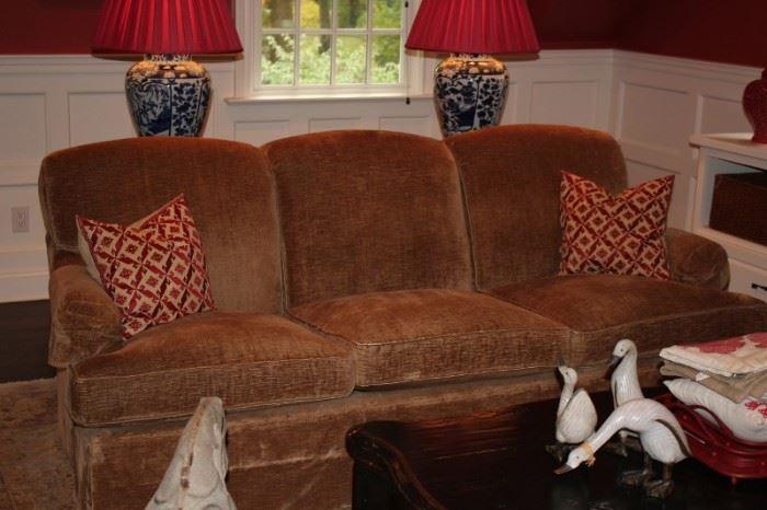Sofa, Decorative Pillows and Pair of Lamps