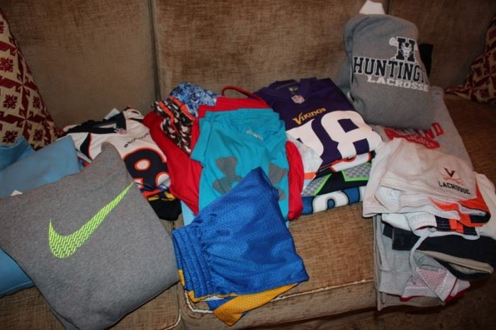 Assorted Clothing including Sports Jerseys
