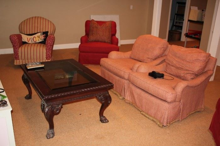 Easy Chairs / Recliners and Wood & Glass Coffee Table