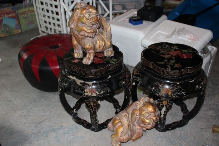 Pair of Asian Style Tables and Foo Dogs with Round Ottoman
