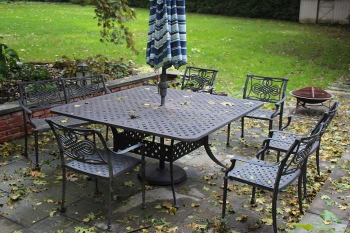 Square Patio Table with 8 Chairs and Umbrella