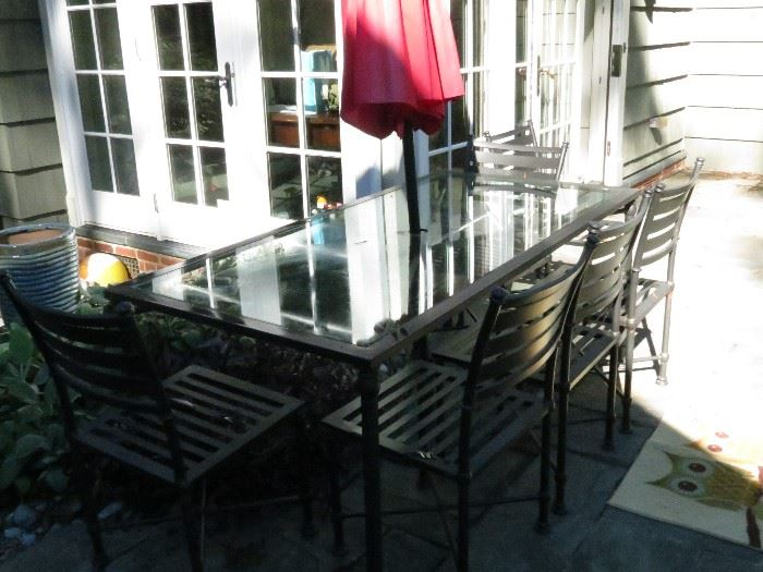 POTTERY BARN OUTDOOR TABLE AND CHAIRS.