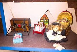 Doll house playroom w giant doll