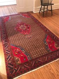 "Beautiful vibrant area rug with bird motif 4'11"" x 9'3"" $1200"