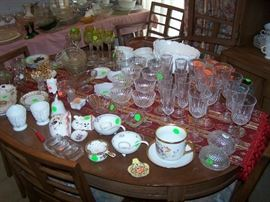 OVAL DINING TABLE--HAS 3 LEAVES/ PADS & 6 CHAIRS, GLASS   &  OTHER SMALLS