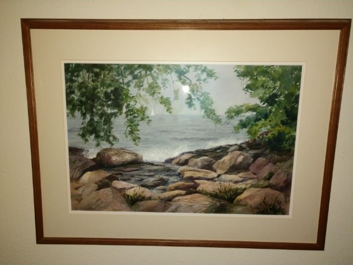 Marblehead Watercolor painting by local artist Lester Cowell