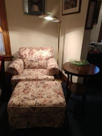 Comfy floral chair with ottoman, brass floor lamp