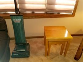 Stackable end tables and Hoover vacuum cleaner