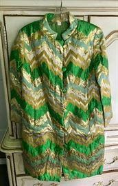 60s green & gold lame dress w/ Nehru collar