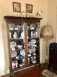 Beautiful curio Cabinet full of Blue Ridge Pottery