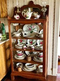 Antique Curio Cabinet full of Blue Ridge Pottery