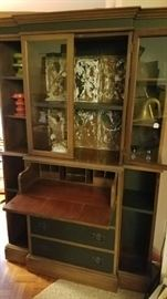 Upcycled mahogany secretary bookcase with rusty ceiling tin